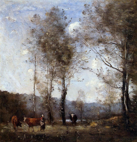 Jean-Baptiste-Camille Corot Ville d'Avray, Cowherd in a Clearing near a Pond - Hand Painted Oil Painting