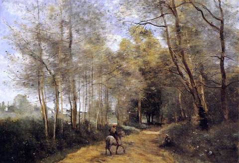 Jean-Baptiste-Camille Corot Ville d'Avray - Horseman at the Entrance of the Forest - Hand Painted Oil Painting