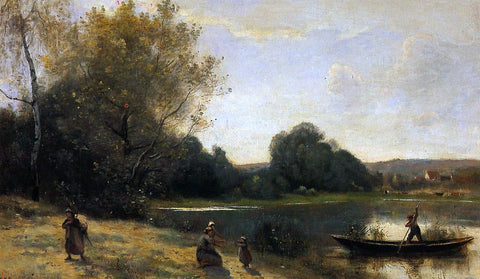 Jean-Baptiste-Camille Corot Ville d'Avray - The Boat Leaving the Shore - Hand Painted Oil Painting