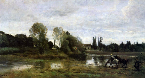 Jean-Baptiste-Camille Corot Ville d'Avray - The Horses Watering Place - Hand Painted Oil Painting