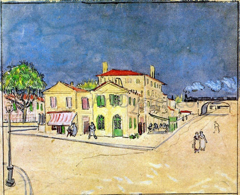Vincent Van Gogh Vincent's House in Arles (also known as The Yellow House) - Hand Painted Oil Painting