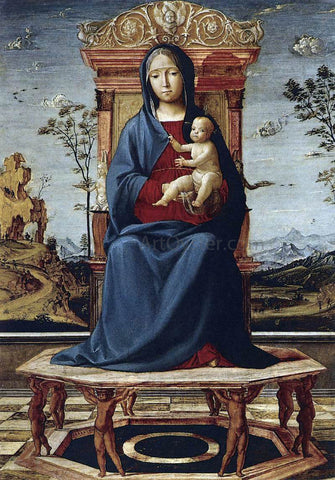 The Elder Lorenzo Costa Virgin and Child Enthroned - Hand Painted Oil Painting