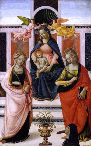 Davide Ghirlandaio Virgin and Child Enthroned between St Ursula and St Catherine - Hand Painted Oil Painting
