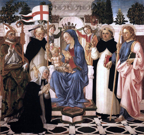 Biagio D'Antonio Virgin and Child Enthroned with Five Saints and Two Angels - Hand Painted Oil Painting