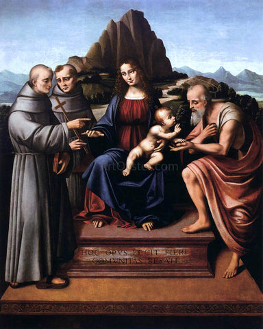 Marco D'Oggiono Virgin and Child Enthroned with Saints - Hand Painted Oil Painting