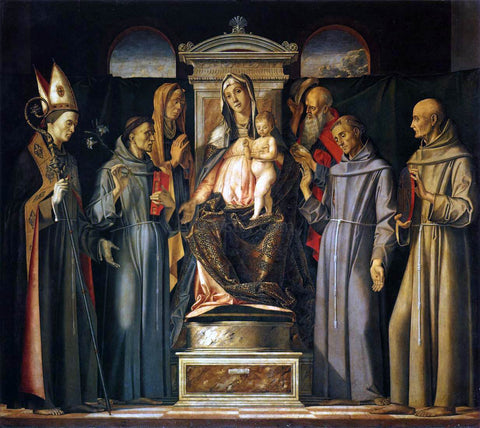 Alvise Vivarini Virgin and Child Enthroned with Saints (Sacra Conversazione) - Hand Painted Oil Painting
