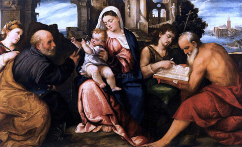 Bonifazio Veronese Virgin and Child with Saints - Hand Painted Oil Painting