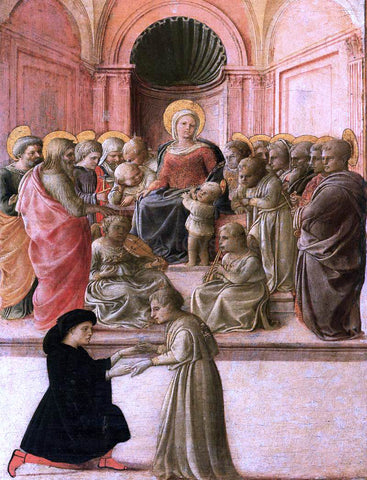 Fra Filippo Lippi Virgin and Child with Saints, Angels, and a Donor - Hand Painted Oil Painting