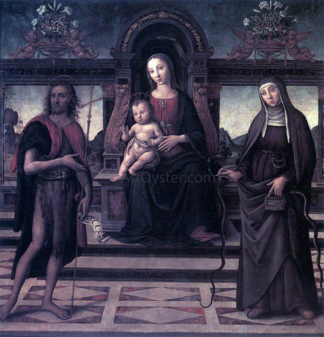 Unknown (4) Masters Virgin and Child with Sts John the Baptist and Verdiana - Hand Painted Oil Painting