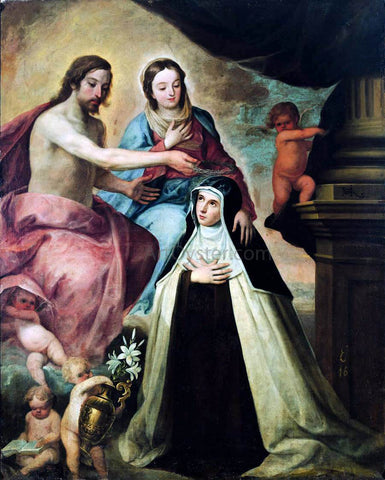 Pedro De Moya Vision of St Maria Magdalena di Pazzi - Hand Painted Oil Painting