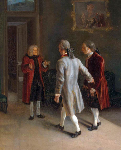 Jean Huber Voltaire Welcoming his Guests - Hand Painted Oil Painting