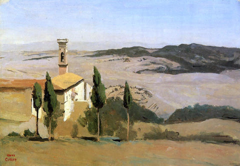 Jean-Baptiste-Camille Corot Volterra - Church and Bell Tower - Hand Painted Oil Painting