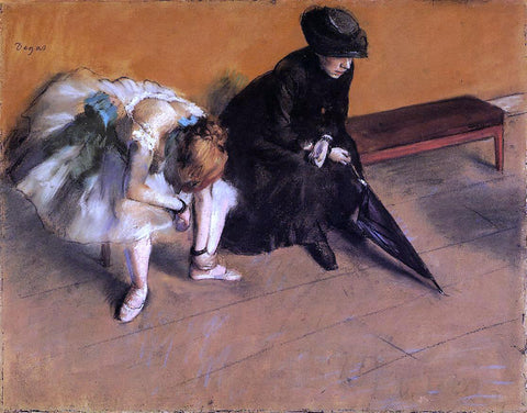 Edgar Degas Waiting - Hand Painted Oil Painting