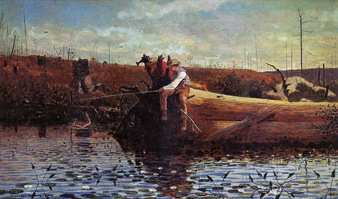 Winslow Homer Waiting for a Bite - Hand Painted Oil Painting