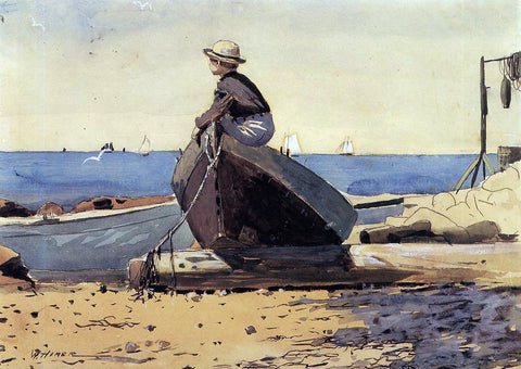 Winslow Homer Waiting for Dad (also known as Longing) - Hand Painted Oil Painting