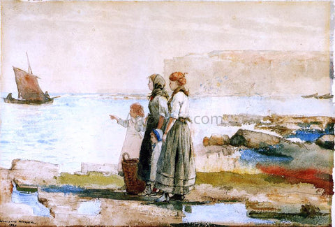 Winslow Homer Waiting for the Return of the Fishing Fleet - Hand Painted Oil Painting