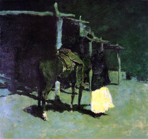 Frederic Remington Waiting in the Moonlight - Hand Painted Oil Painting