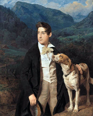 Ferdinand Georg Waldmuller Waldmuller's Son Ferdinand with Dog - Hand Painted Oil Painting