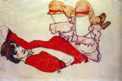 Egon Schiele Wally with a Red Blouse - Hand Painted Oil Painting