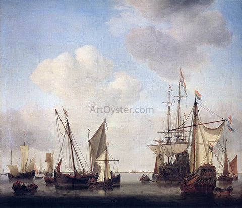 The Younger Willem Van de  Velde Warships at Amsterdam - Hand Painted Oil Painting