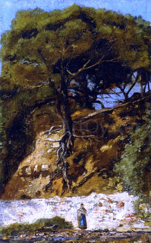 Paul-Camille Guigou Washerwoman at the Foot of a Large Pine Tree - Hand Painted Oil Painting