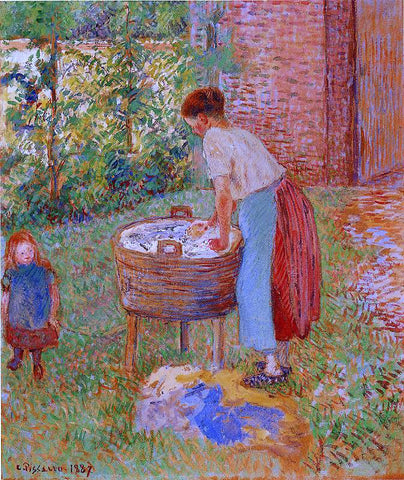Camille Pissarro Washerwoman, Eragny - Hand Painted Oil Painting