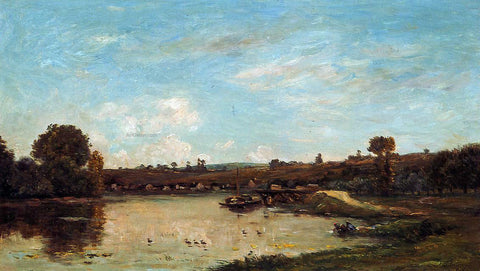 Charles Francois Daubigny Washerwoman near Valdomdois - Hand Painted Oil Painting
