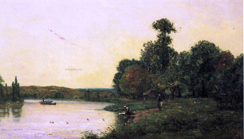 Hippolyte Camille Delpy Washerwomen by he River at Sunset - Hand Painted Oil Painting