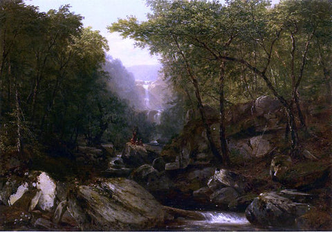 John Frederick Kensett Waterfall in the Woods with Indians - Hand Painted Oil Painting