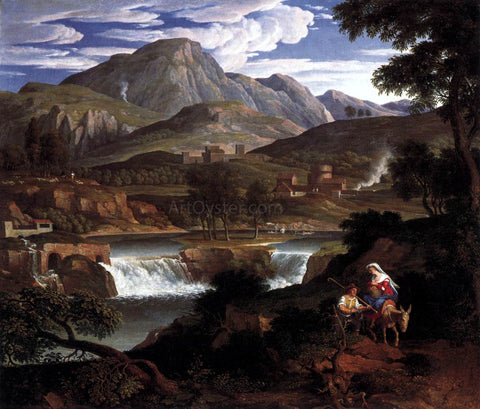 Joseph Anton Koch Waterfall near Subiaco - Hand Painted Oil Painting
