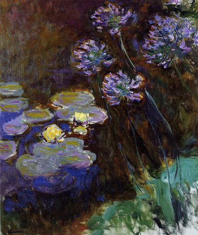 Claude Oscar Monet Water-Lilies and Agapanthus - Hand Painted Oil Painting