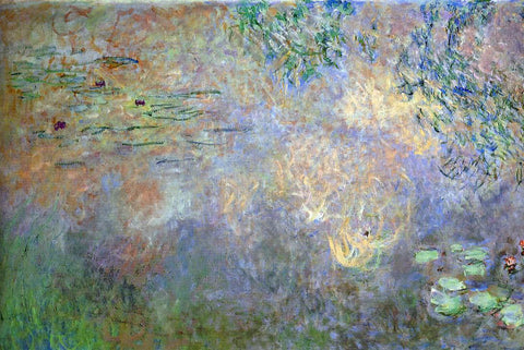 Claude Oscar Monet Water-Lily Pond with Irises (left half) - Hand Painted Oil Painting
