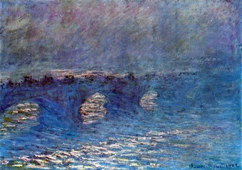 Claude Oscar Monet Waterloo Bridge, Effect of Sun in the Mist - Hand Painted Oil Painting