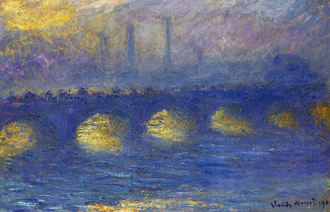 Claude Oscar Monet Waterloo Bridge, Overcast Weather - Hand Painted Oil Painting