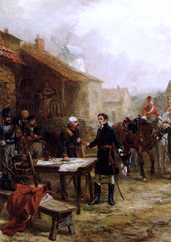Robert Alexander Hillingford Wellington And Blucher Meeting Before The Battle Of Waterloo - Hand Painted Oil Painting