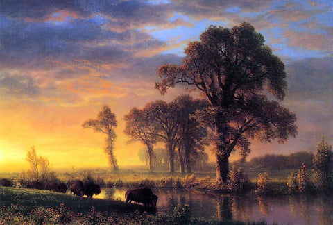 Albert Bierstadt Western Kansas - Hand Painted Oil Painting