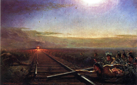 Theodore Kaufmann Westward the Star of Empire (also known as Railway Train Attacked by Idians) - Hand Painted Oil Painting