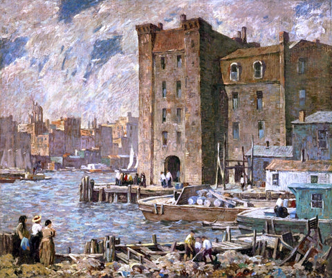 Robert Spencer Wharves - Hand Painted Oil Painting