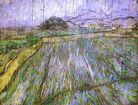 Vincent Van Gogh Wheat Field in Rain - Hand Painted Oil Painting