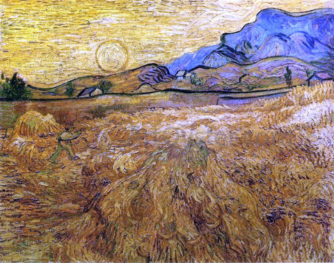 Vincent Van Gogh Wheat Field with Reaper and Sun - Hand Painted Oil Painting