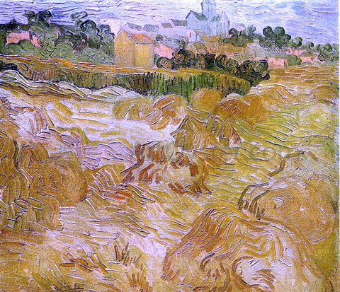 Vincent Van Gogh Wheat Fields with Auvers in the Background - Hand Painted Oil Painting