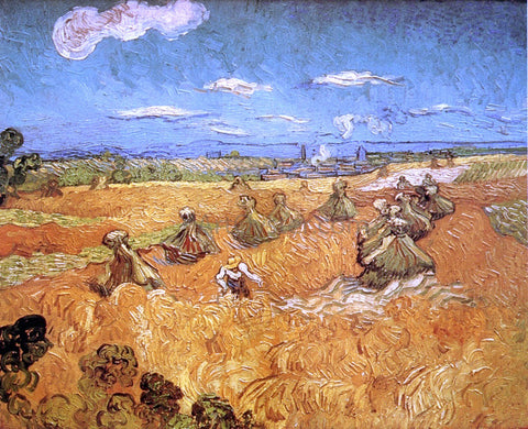 Vincent Van Gogh Wheat Stacks with Reaper - Hand Painted Oil Painting