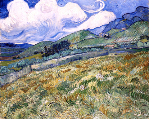 Vincent Van Gogh Wheatfield with Mountains in the Background (also known as Mountain Landscape Seen across the Walls) - Hand Painted Oil Painting