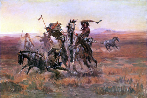 Charles Marion Russell When Blackfeet and Sioux Meet - Hand Painted Oil Painting
