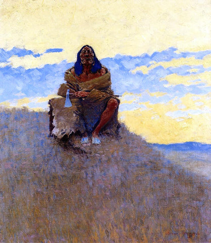 Frederic Remington When His Heart is Bad - Hand Painted Oil Painting