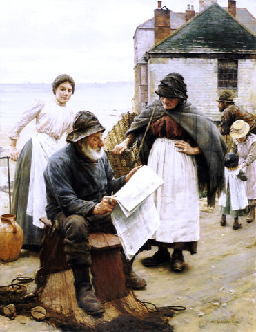 Walter Langley When the Boats are Away - Hand Painted Oil Painting