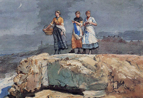 Winslow Homer Where are the Boats? (also known as On the Cliffs) - Hand Painted Oil Painting