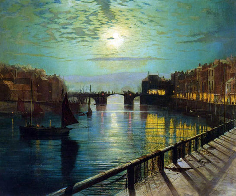John Atkinson Grimshaw Whitby Harbor by Moonlight - Hand Painted Oil Painting