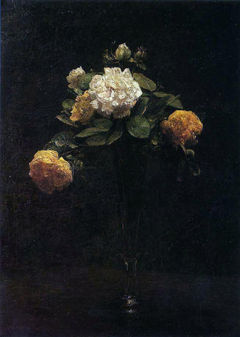 Henri Fantin-Latour White and Yellow Roses in a Tall Vase - Hand Painted Oil Painting