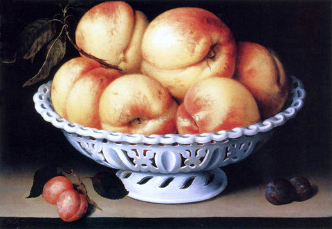 Fede Galizia White Ceramic Bowl with Peaches and Red and Blue Plums - Hand Painted Oil Painting